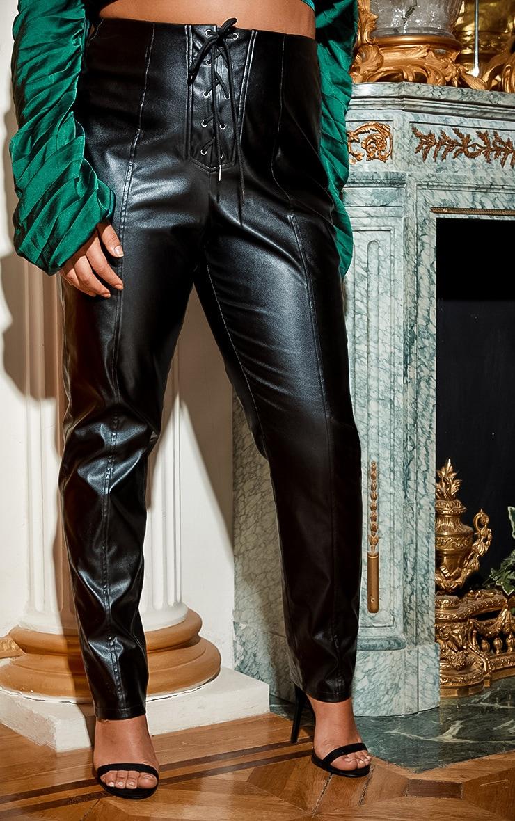 Plus Black Lace Up PU Skinny Pants 2