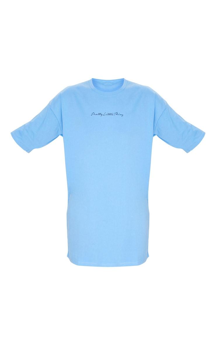PRETTYLITTLETHING Sky Blue Slogan Oversized Boyfriend T Shirt Dress 5