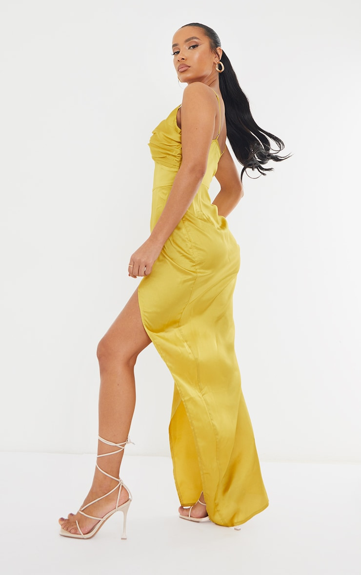 Chartreuse Ruched Bust Satin Maxi Dress 2