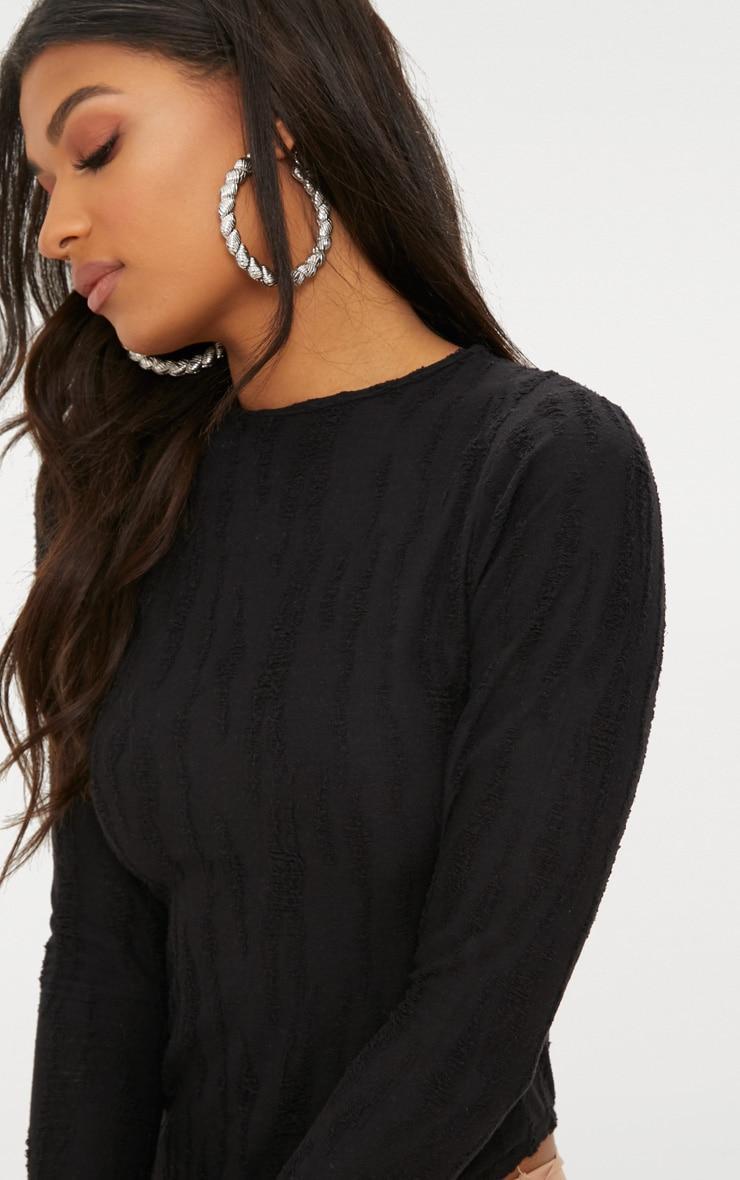 Black Distressed Long Sleeve Thong Bodysuit 6