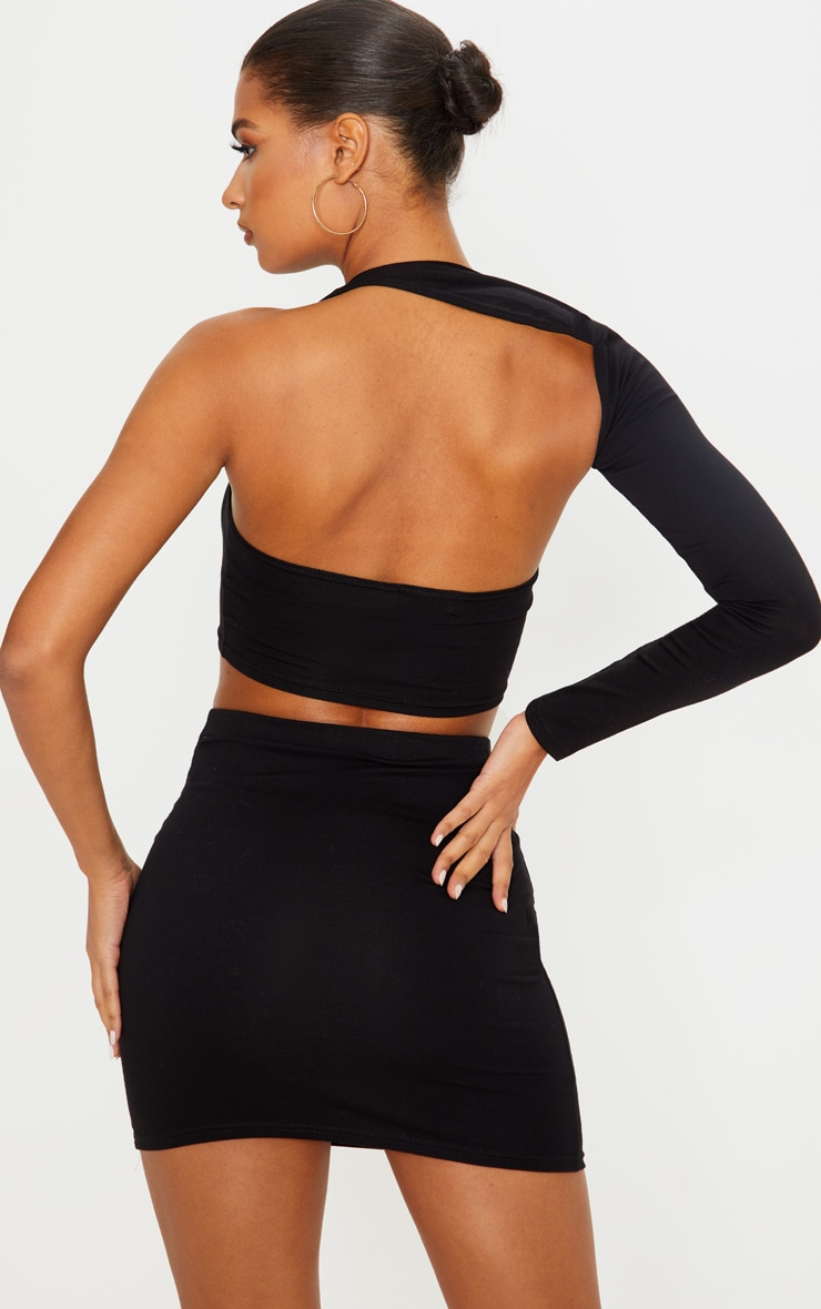 Black Cotton One Shoulder Asymmetric Crop Top 2