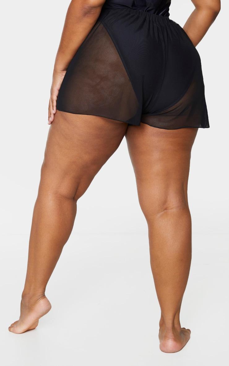 Plus Black Mesh Beach Shorts 3