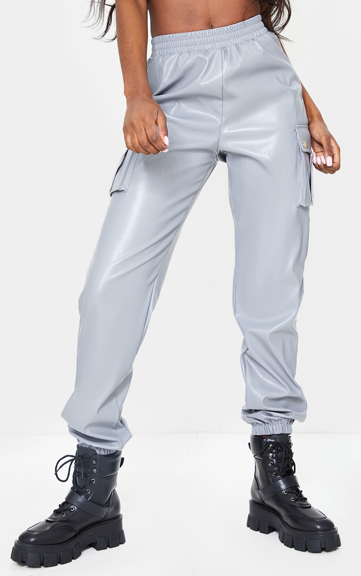 Tall Grey Faux Leather Pocket Detail Joggers 2