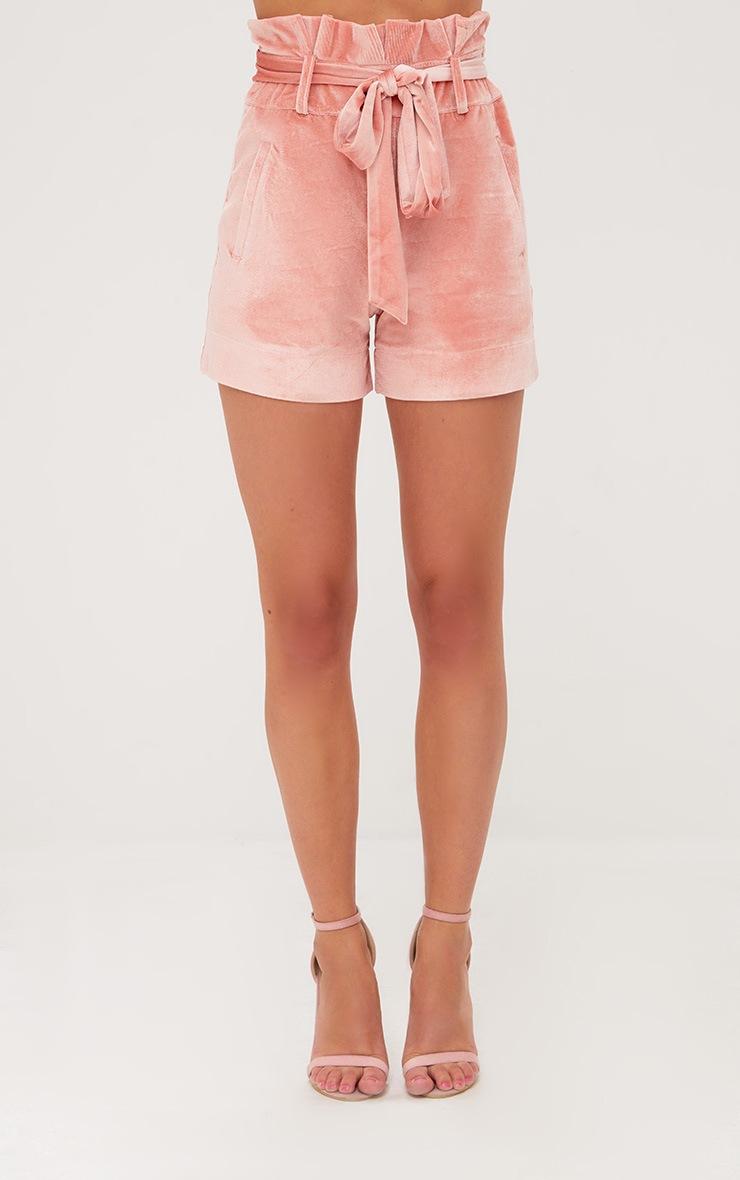 Pink Velvet Paperbag Shorts 2