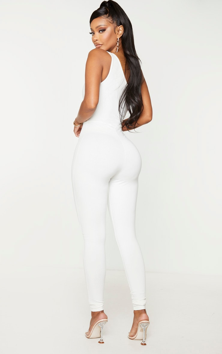 Shape Cream Cotton One Shoulder Jumpsuit 2