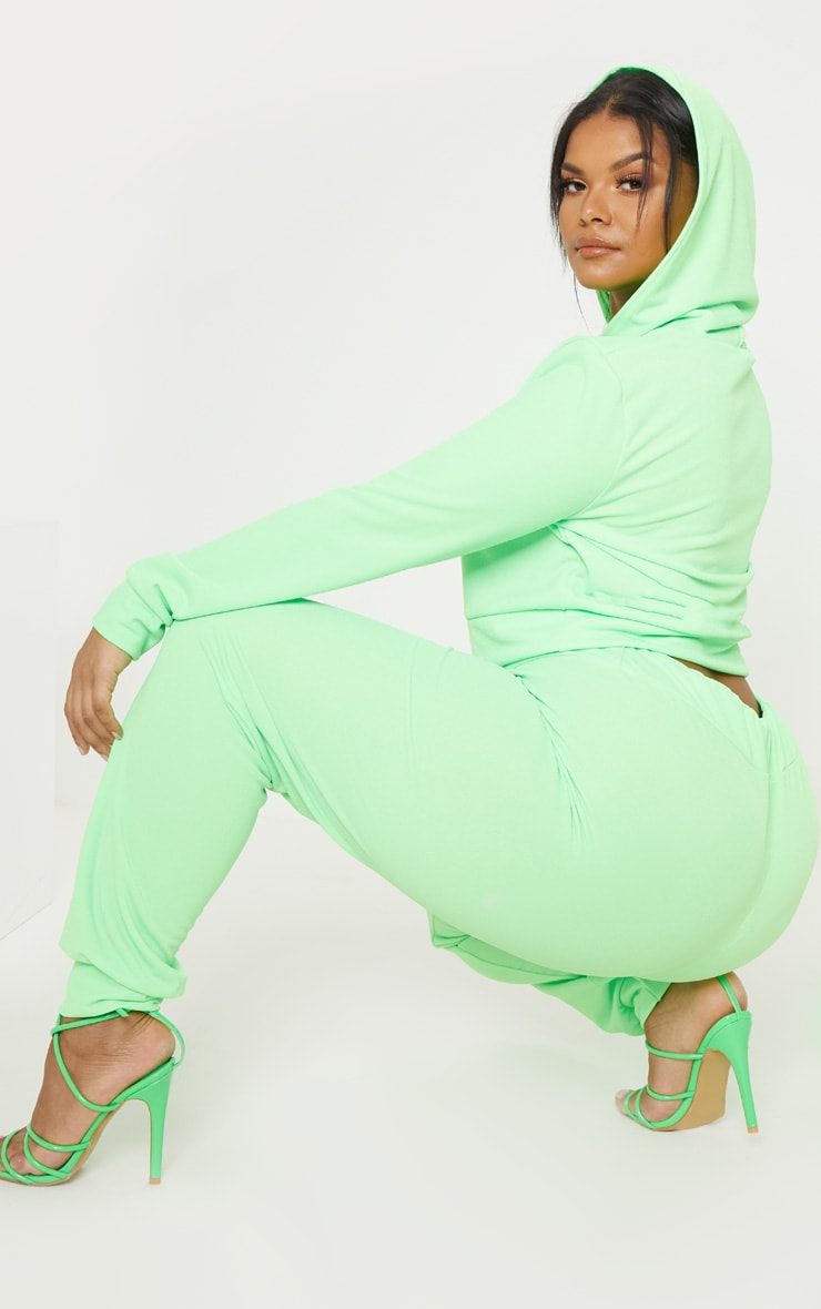 Plus Neon Green Cropped Hoodie Top 2