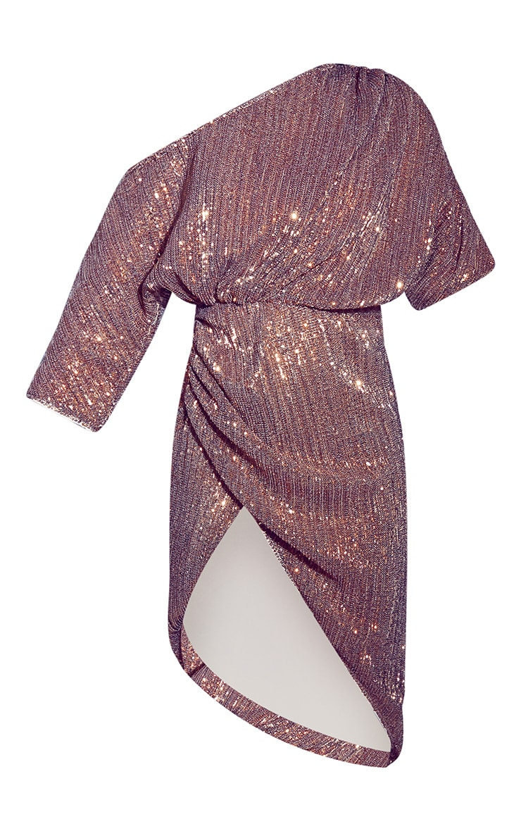 Bronze Off Shoulder Sequin Midi Dress 4