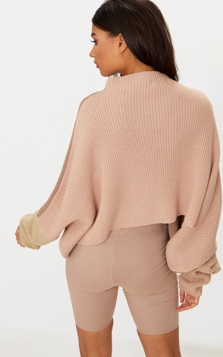 Stone Oversized Colour Block Knitted Jumper 2