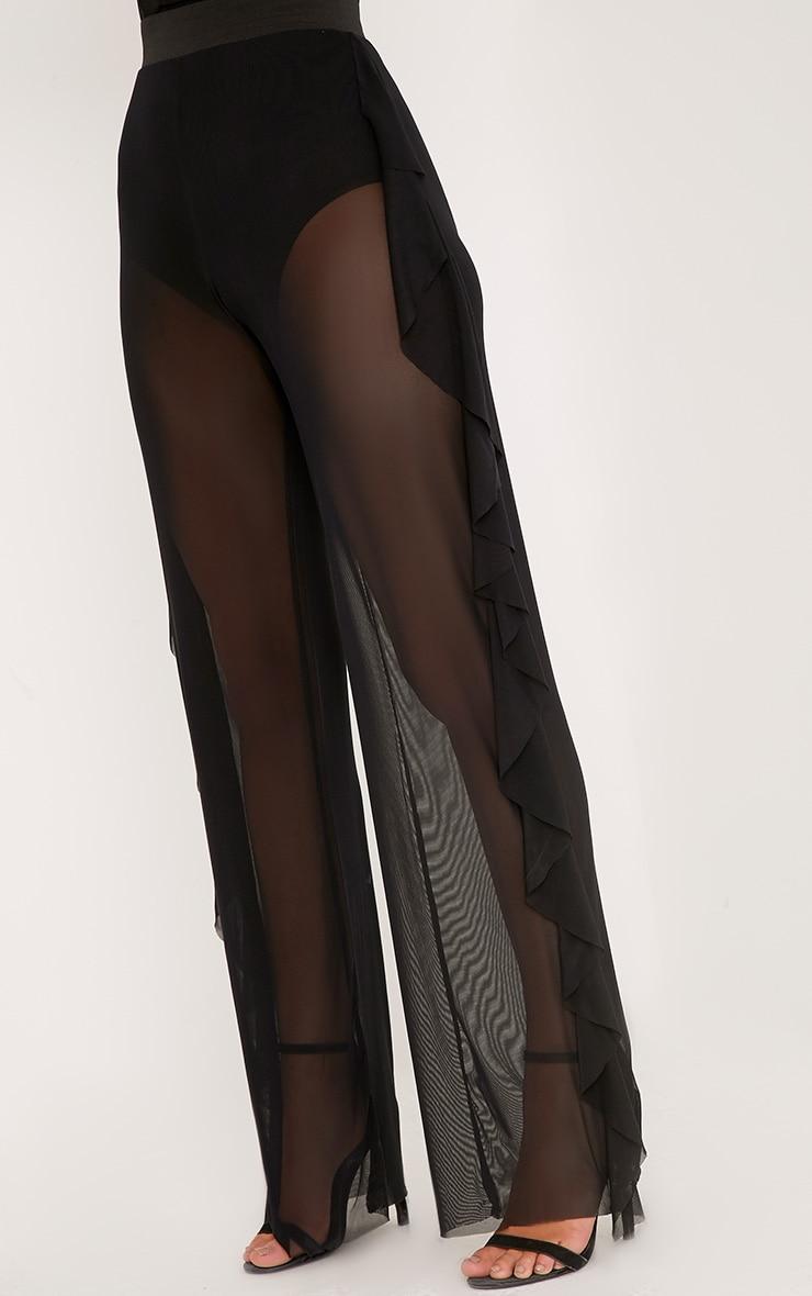 Nancia Black Sheer Side Frill Trousers 5