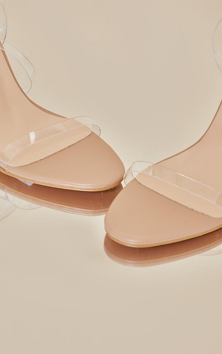 Nude Wide Fit Clear Heel Single Strap Sandal 4