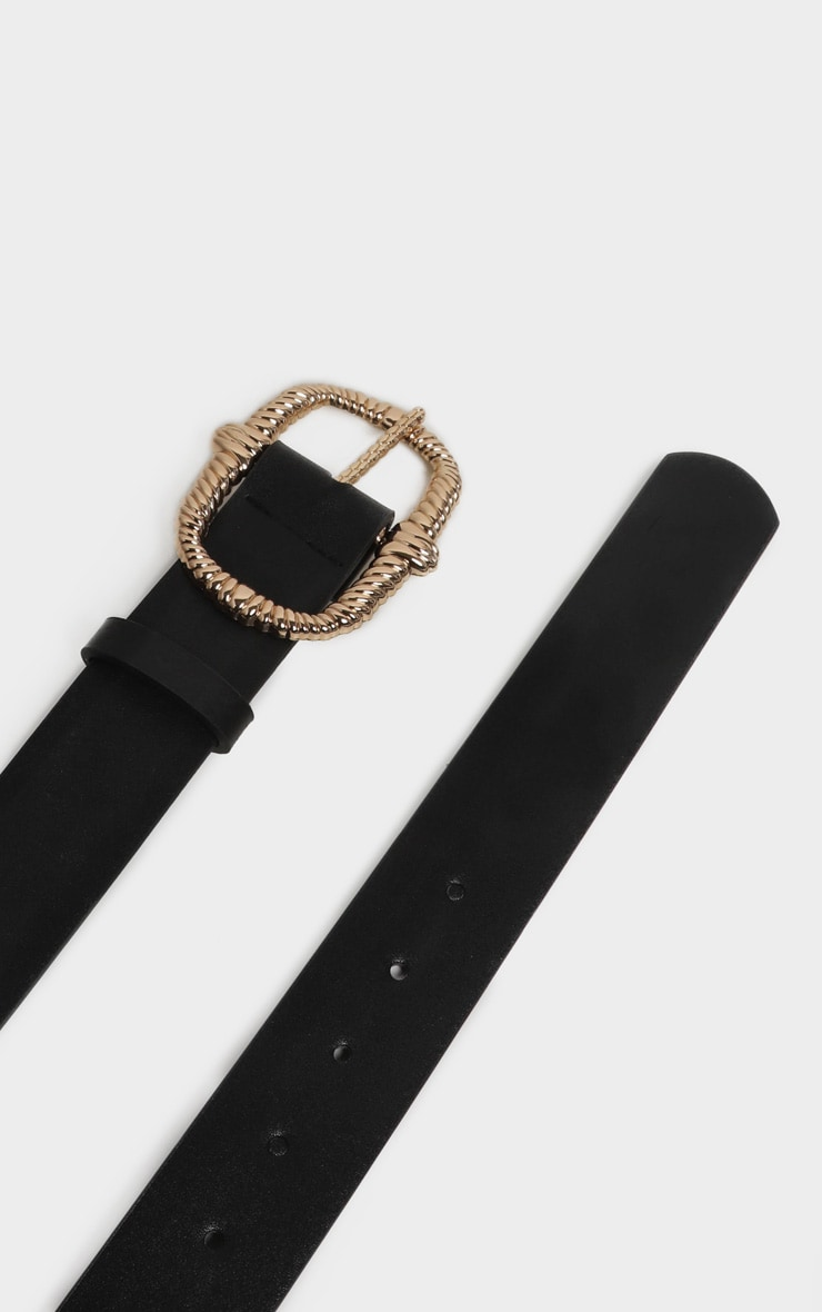 Black PU Gold Large Rope Effect Buckle Belt 4