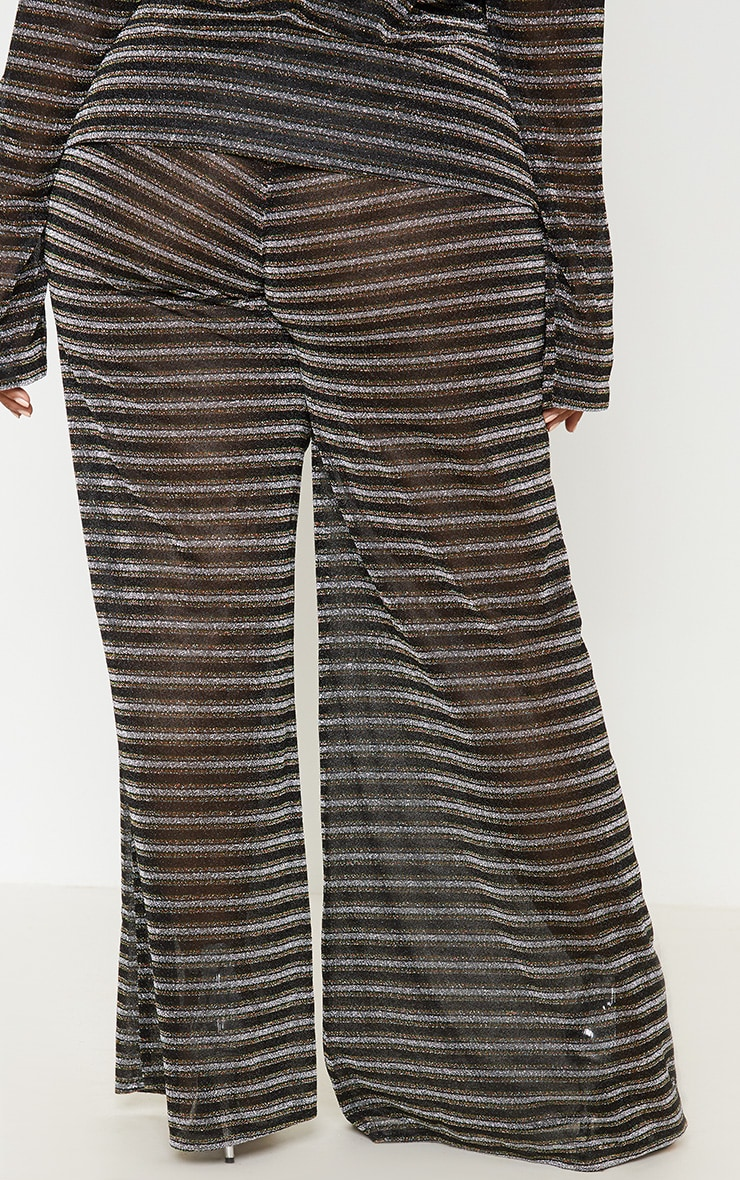 Black Glitter Stripe Wide Leg Trouser 5