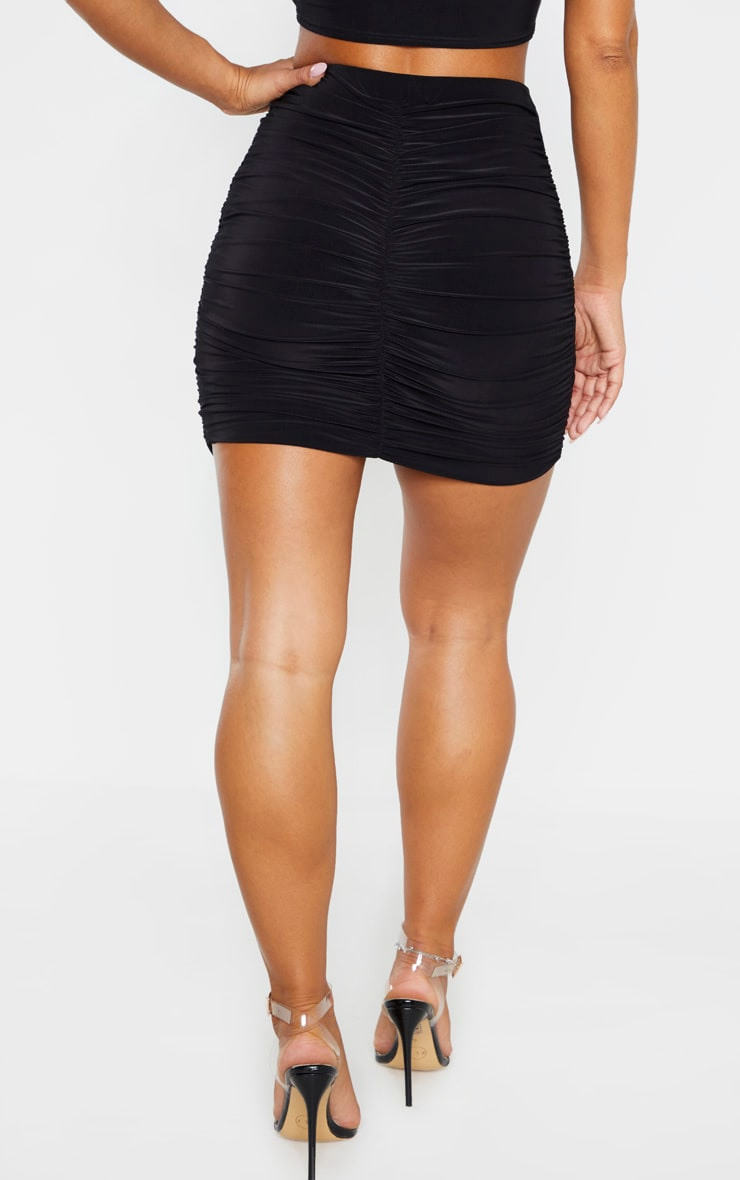 Black Slinky Ruched Mini Skirt 4