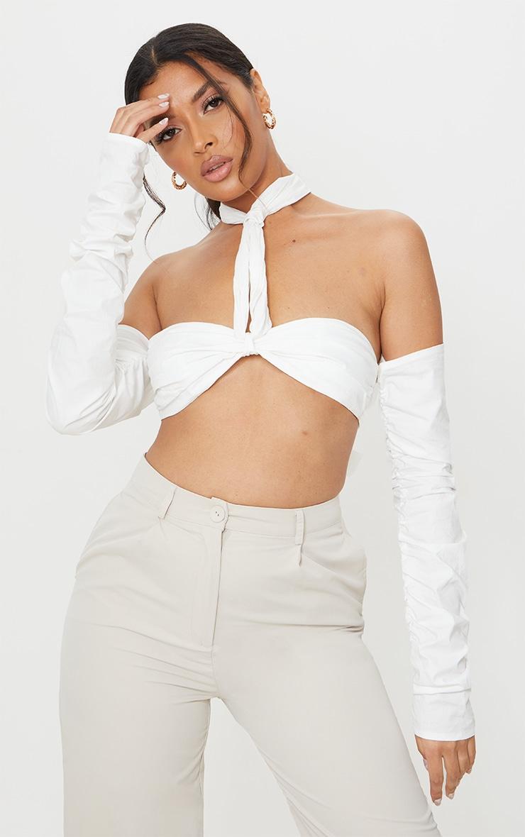 White Cotton Multiway Bardot Tie Crop Top 1