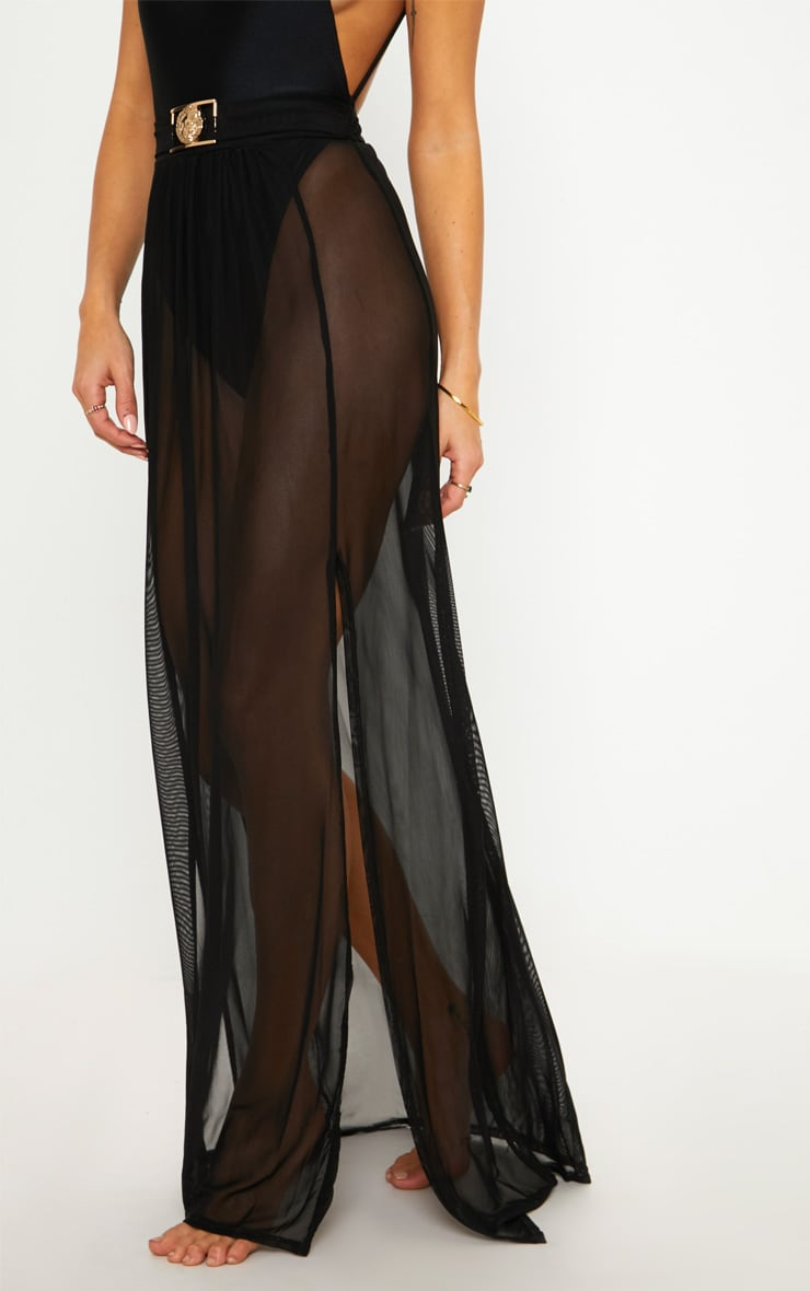 Black Lion Belted Mesh Beach Skirt 2