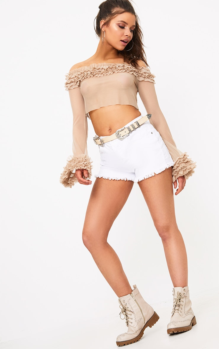 Nude Mesh Bardot Tulle Ruched Crop Top  4