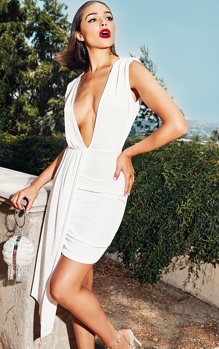White Plunge Neckline Drape Detail Bodycon Dress 6