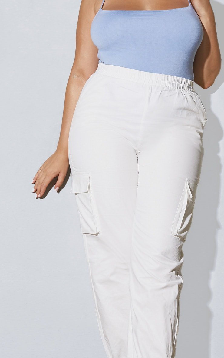 Plus White Cargo Detail Trousers 4