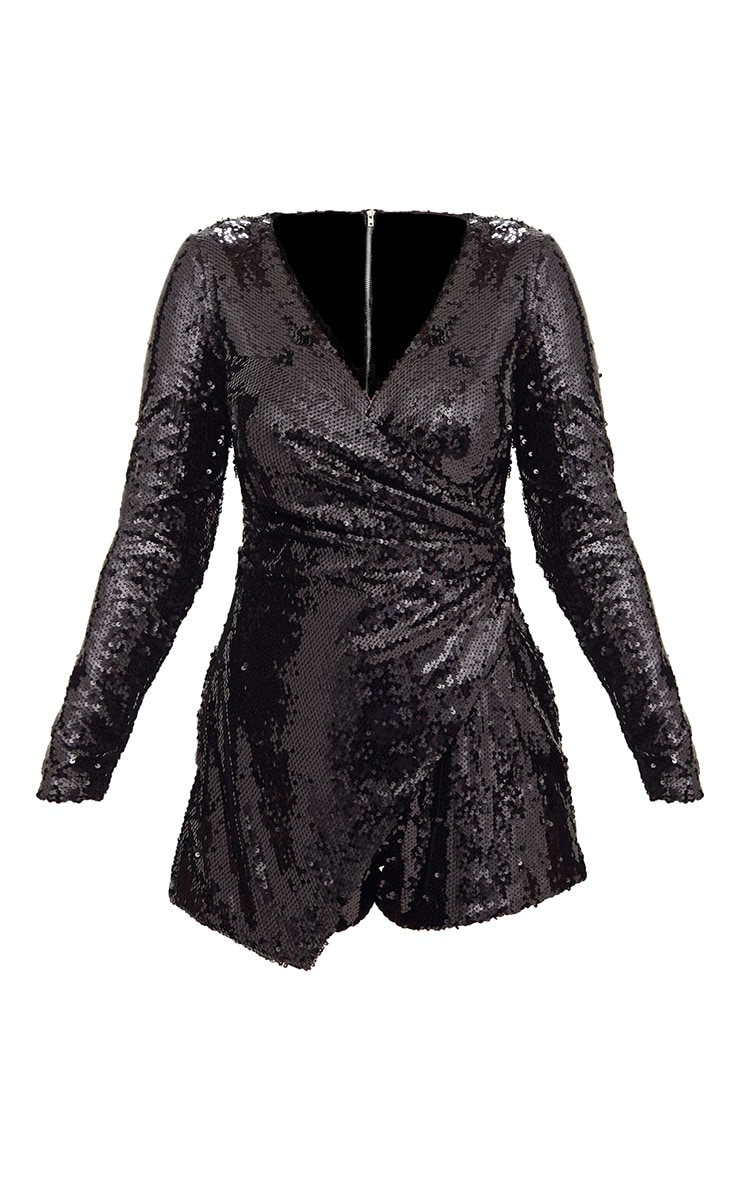 Black Sequin Long Sleeve Wrap Romper 3