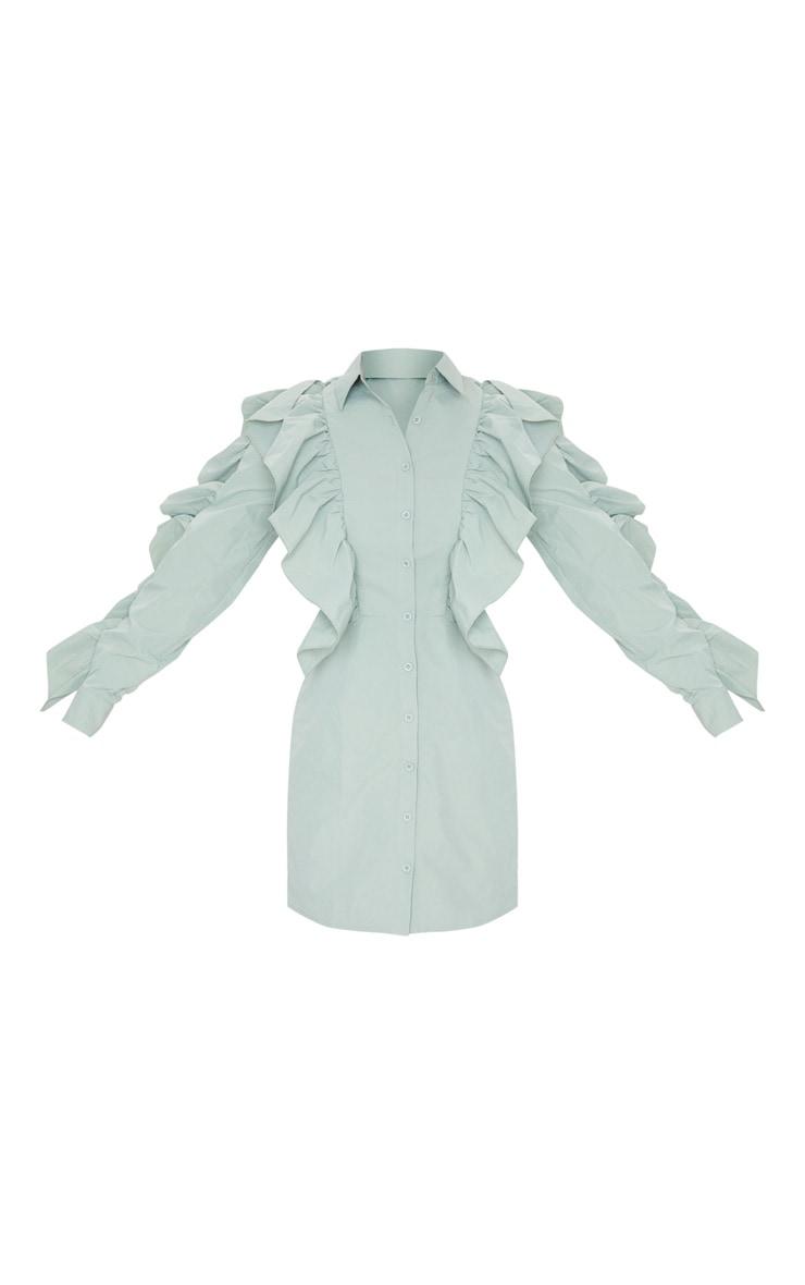 Sage Green Ruffle Detail Button Down Shirt Dress 5