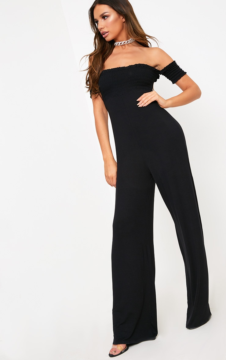 Black Bardot Shirred Jumpsuit 4