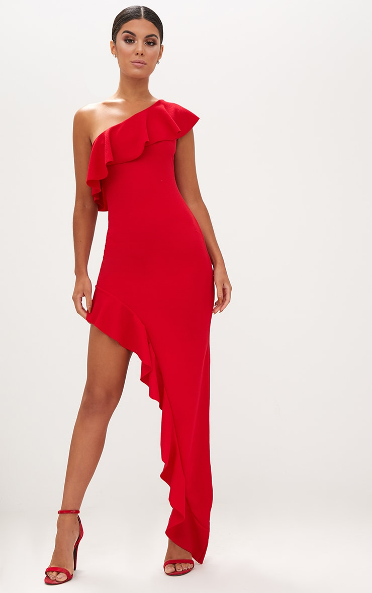 Red One Shoulder Ruffle Detail Asymmetric Maxi Dress 1