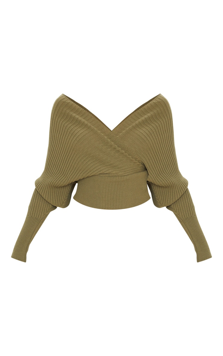 Khaki Wrap Off The Shoulder Jumper 3