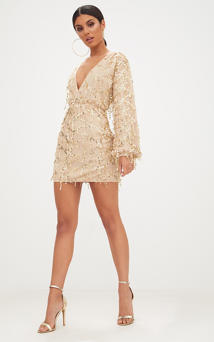 Gold Plunge Sequin Long Sleeve Bodycon Dress 4