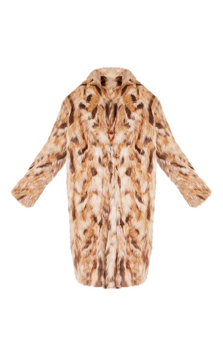 Georgiana Premium manteau long en fausse fourrure fauve 3