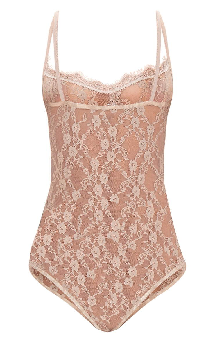 Nude Lace Sheer Thong Bodysuit 4