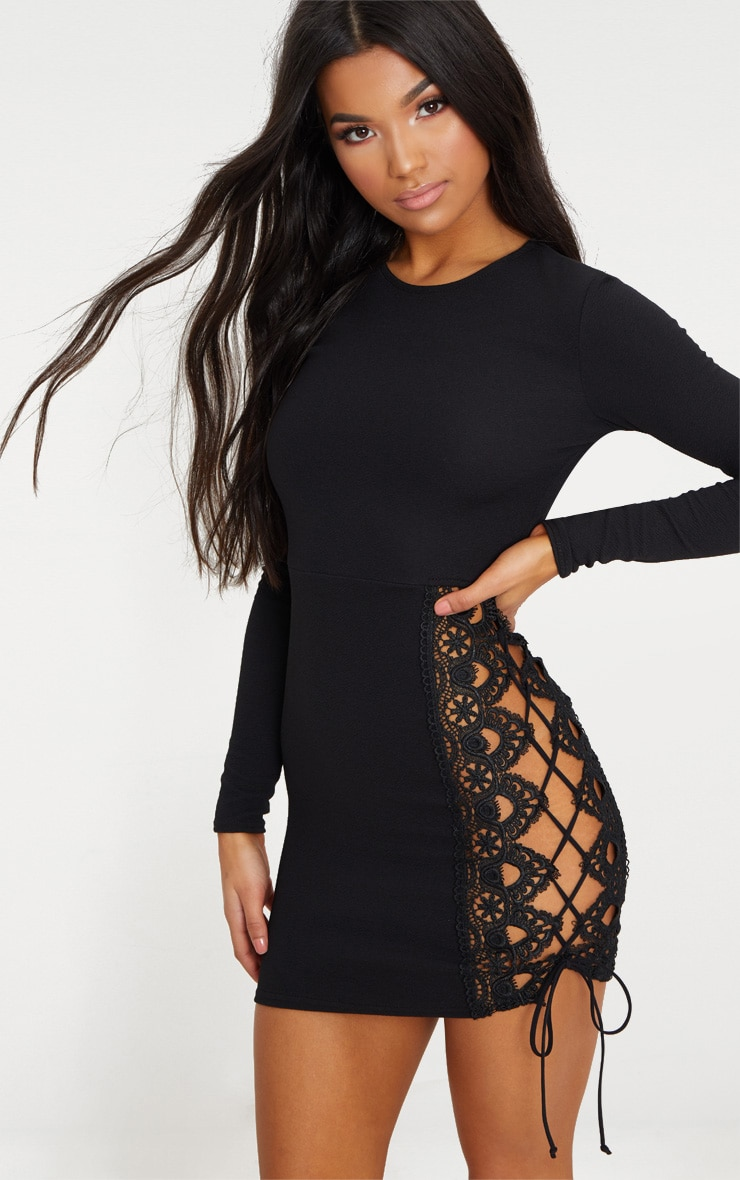 Black Lace Up Side Long Sleeve Bodycon Dress