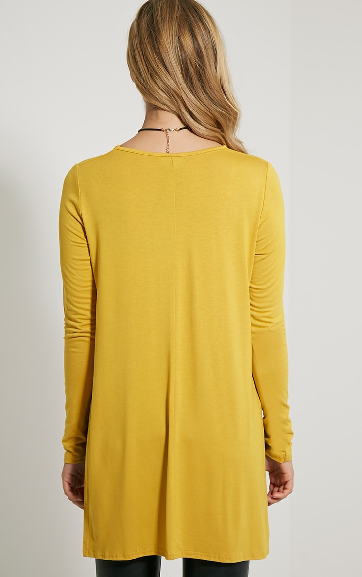 Basic Mustard Long Sleeve Side Split Top 2