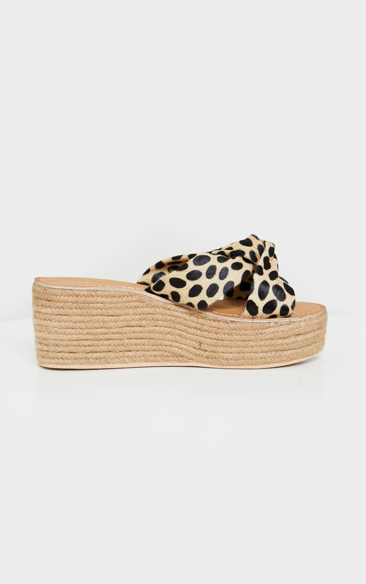 Natural Tiger Print Leather Espadrilles Wedges 4