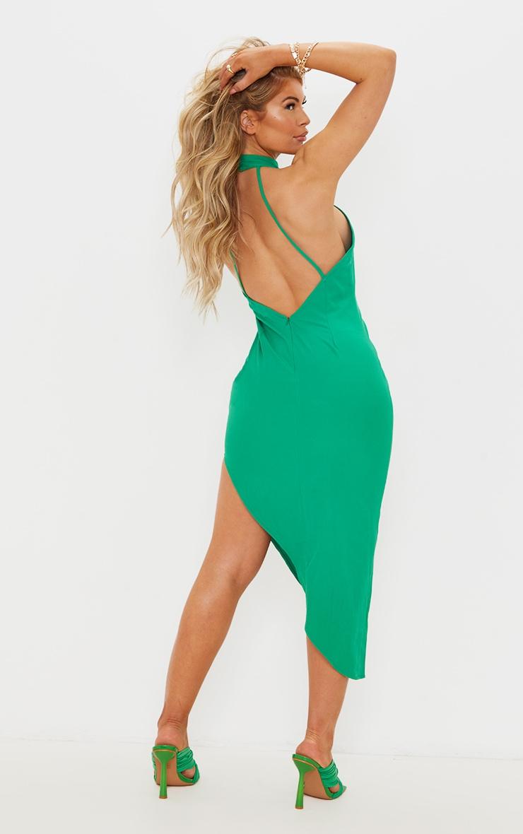 Green High Neck Open Back Detail Asymmetric Midi Dress 1