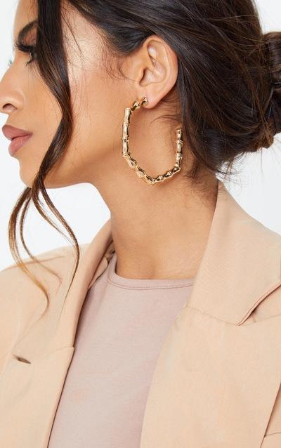 Gold Bamboo Half Hoop Earrings