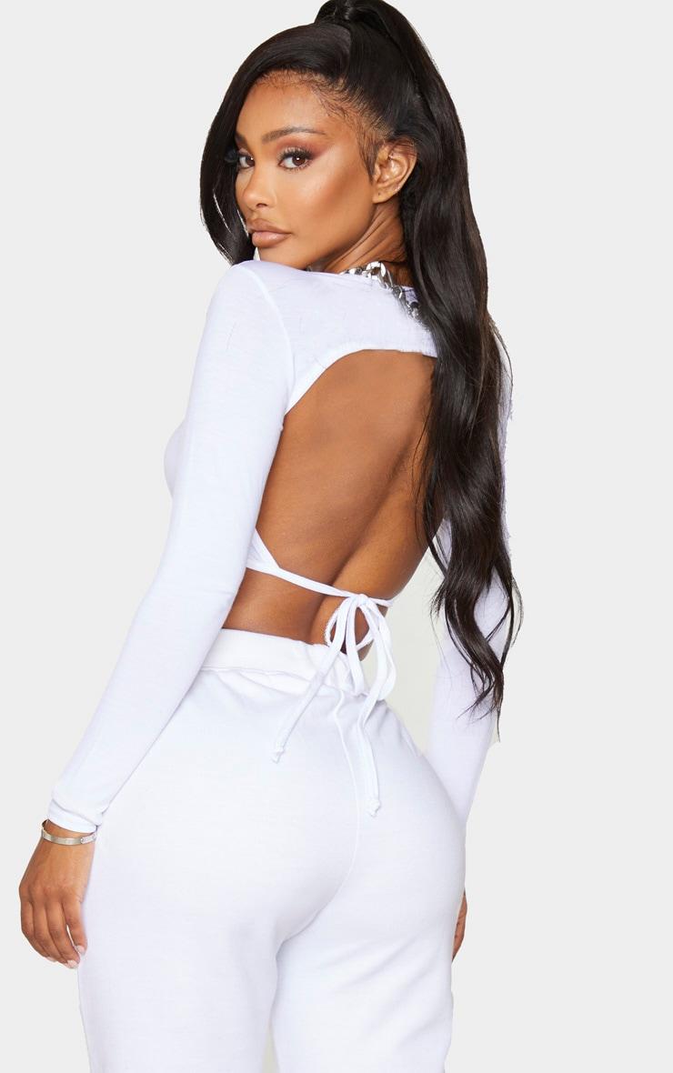 Shape White Jersey Tie Back Crop Top 1
