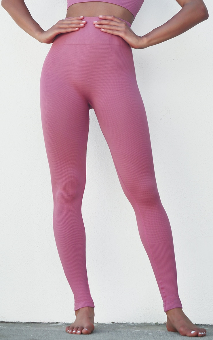 Berry Textured Seamless High Waist Gym Legging 2