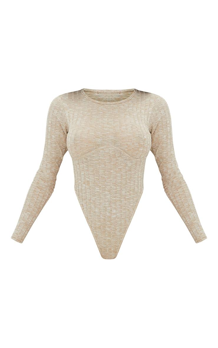 Oatmeal Marl Wide Rib Underbust Detail Extreme High Leg Bodysuit 5