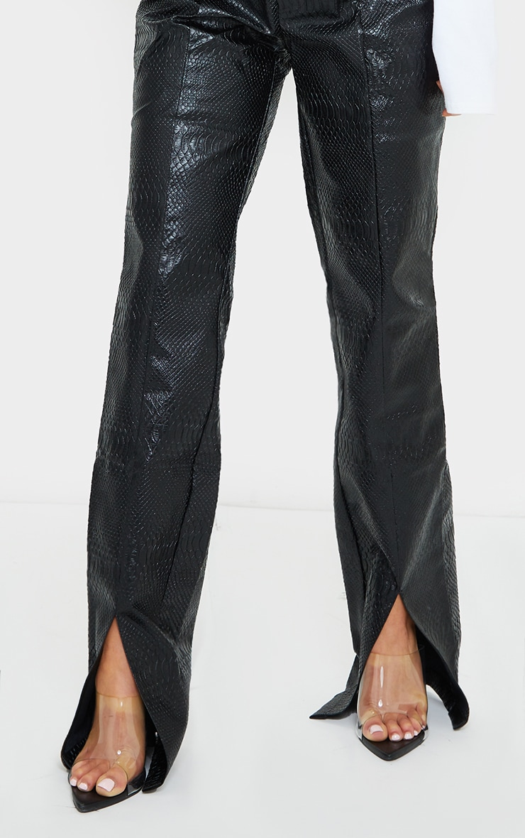 Petite PREMIUM Black Faux Leather Croc Split Hem Skinny Trousers 4