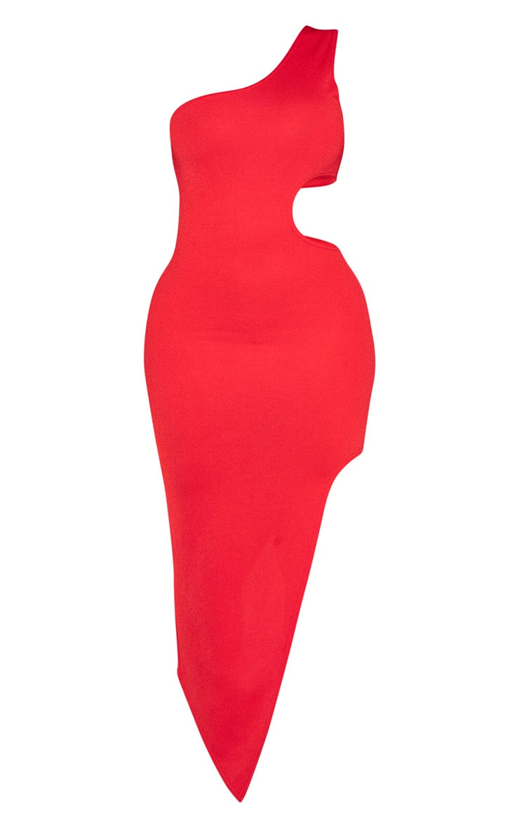 Shape Red One Shoulder Cut Out Midaxi Dress 3