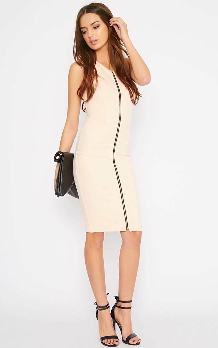 Rumi Nude Zip Front Bodycon Dress 1