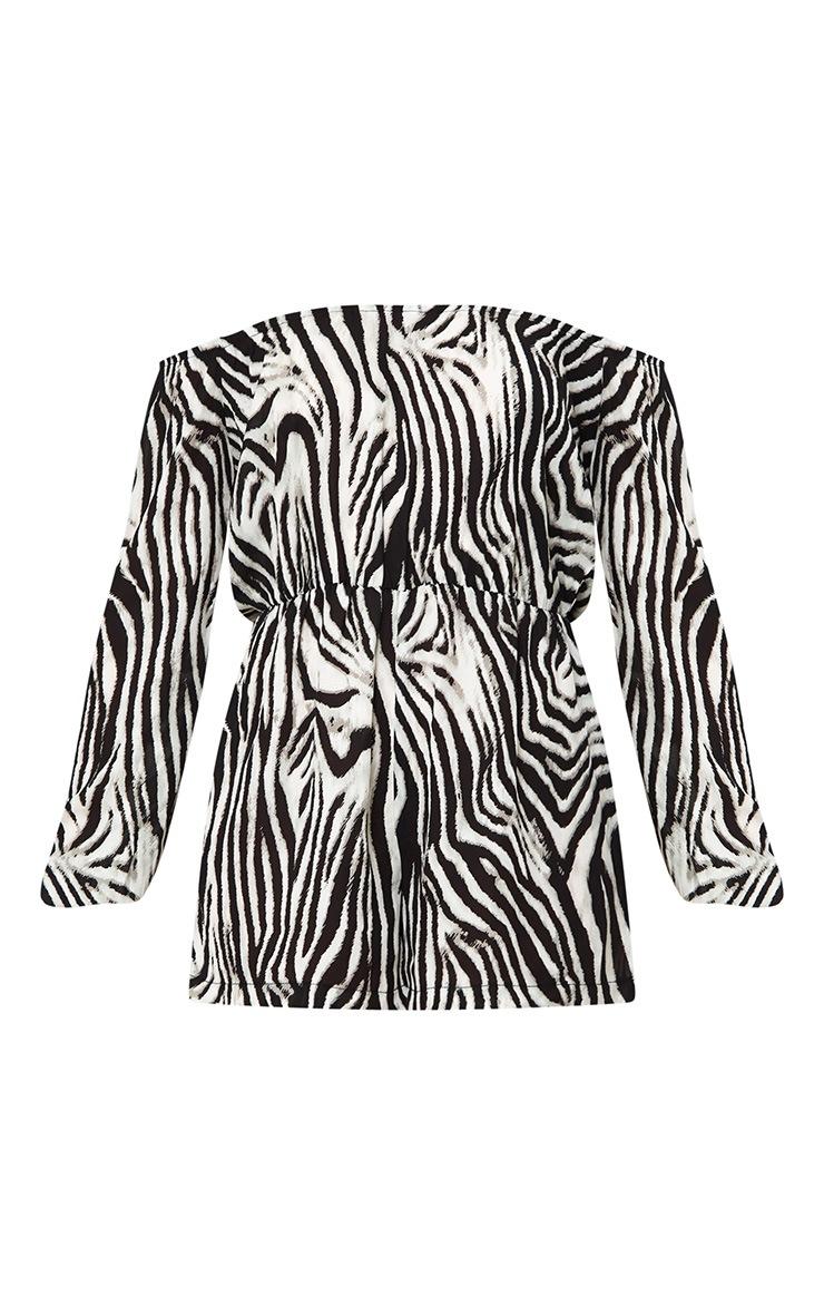 Zebra Print Bardot Playsuit 3