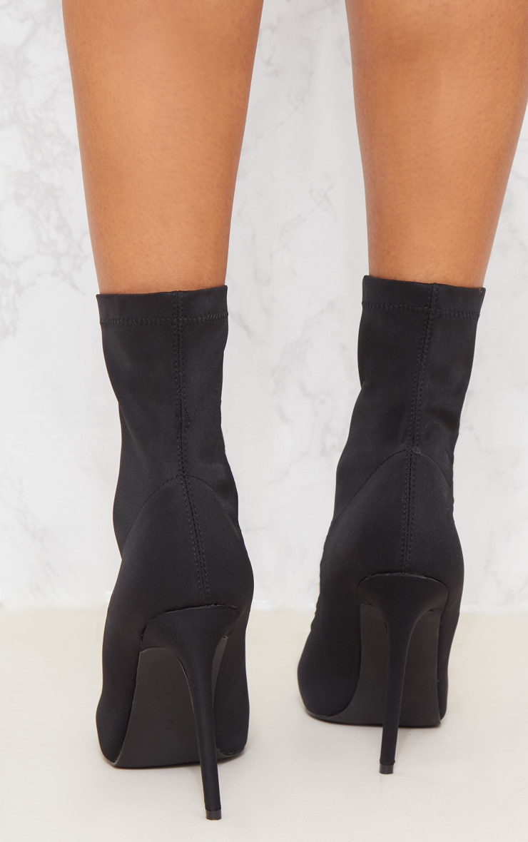 Black Lycra Zip Front Sock Boot 5
