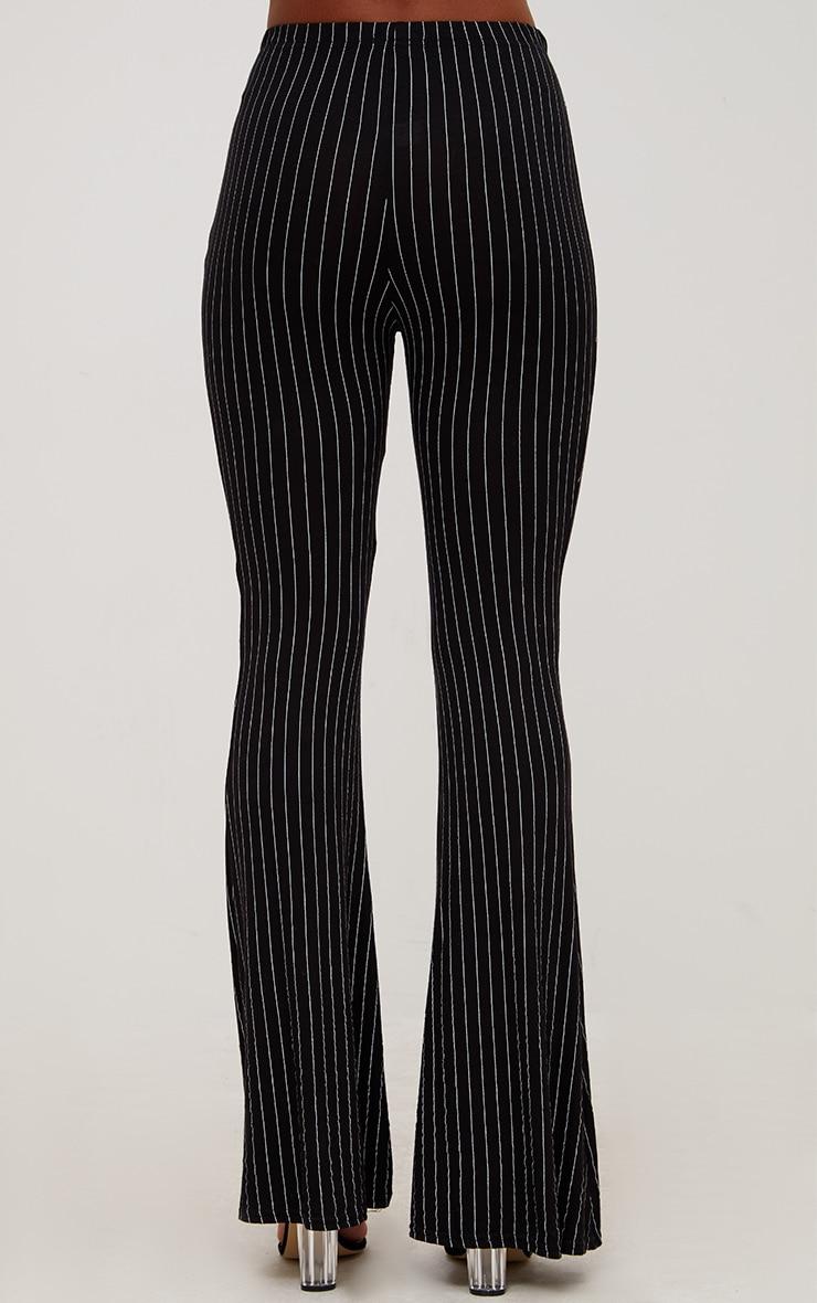 Black Jersey Pinstripe Flared Pants 3