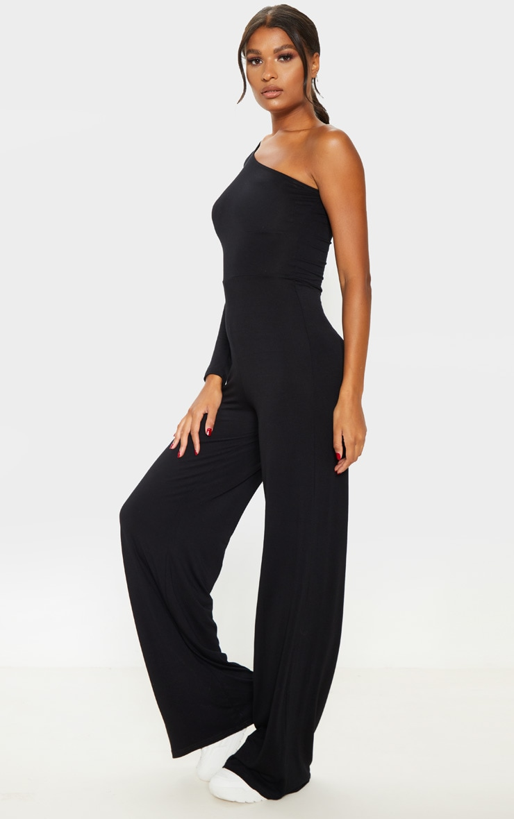 Black One Shoulder Long Sleeve Jumpsuit 4