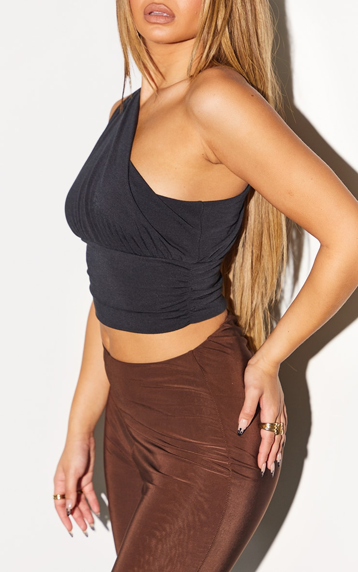 Recycled Black Contour Jersey Ruched One Shoulder Crop Top 4