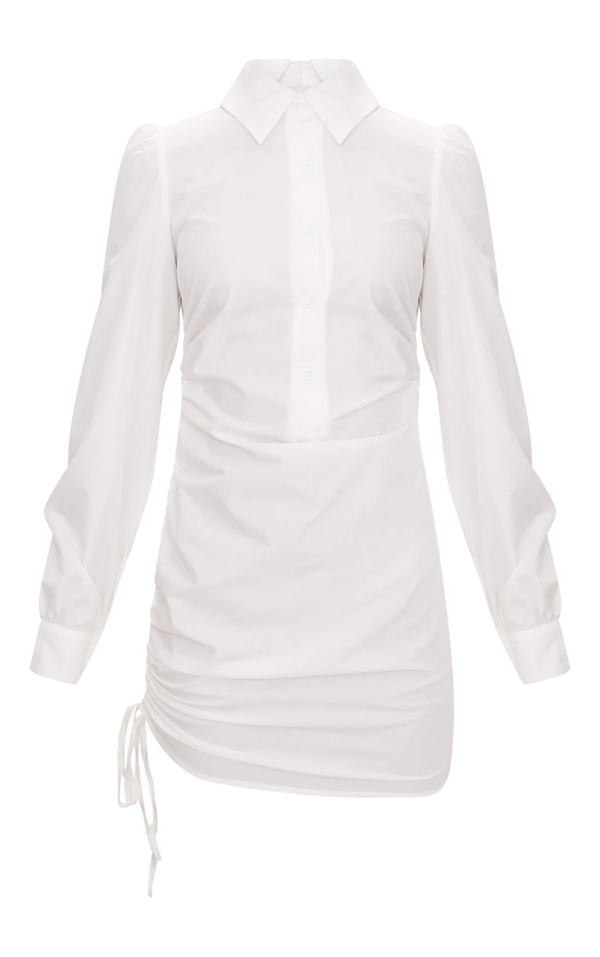 Ruched Side Fitted Shirt Dress 4