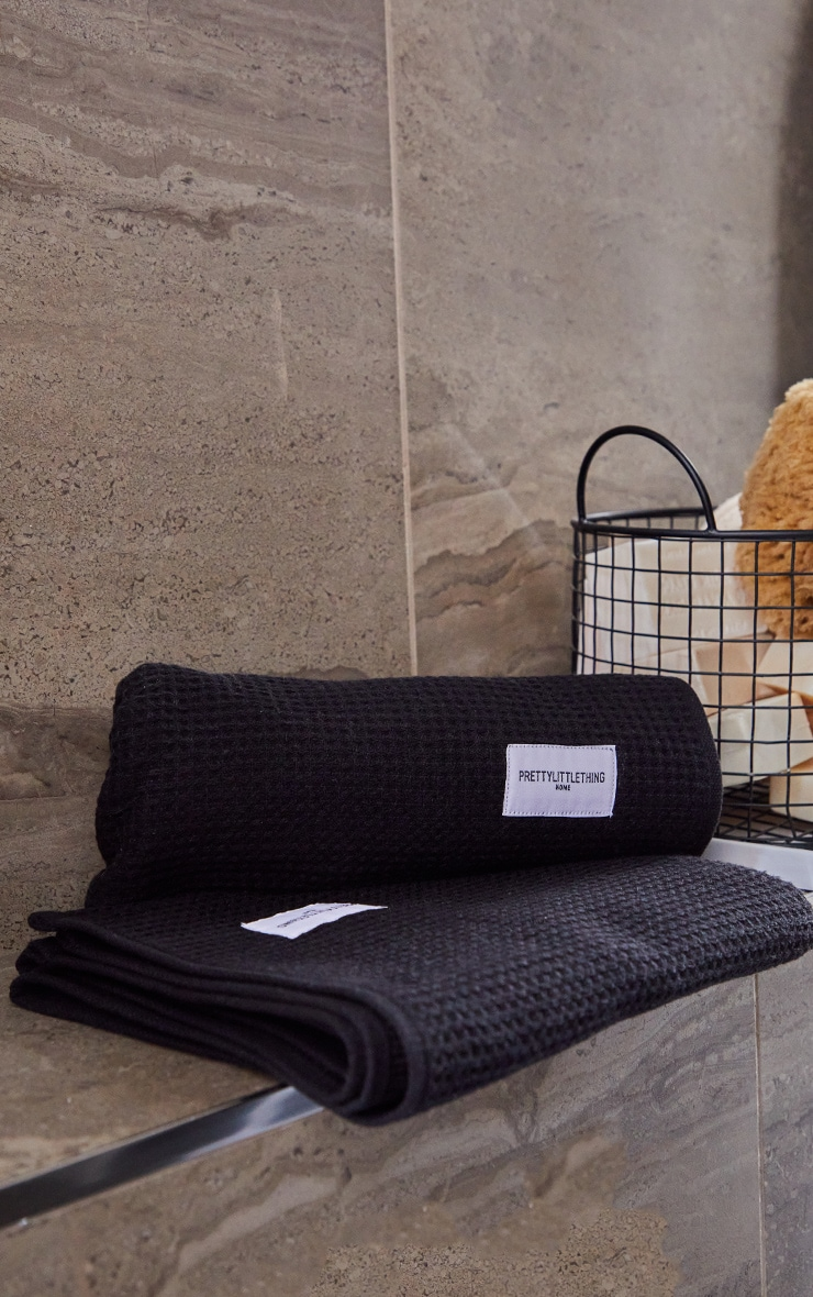 Black Waffle Cotton Hand Towel Pack Of 2 2