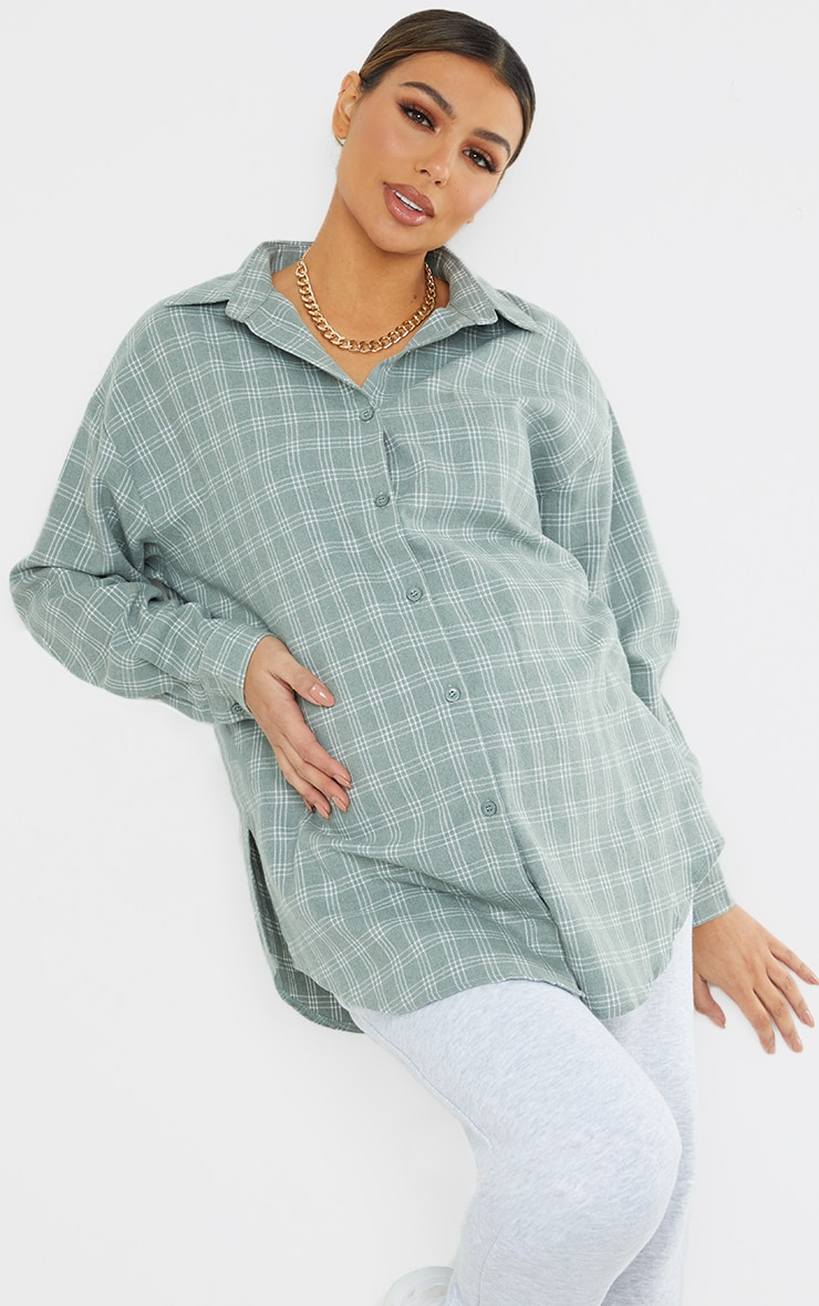 Maternity Washed Green Checked Oversized Shirt