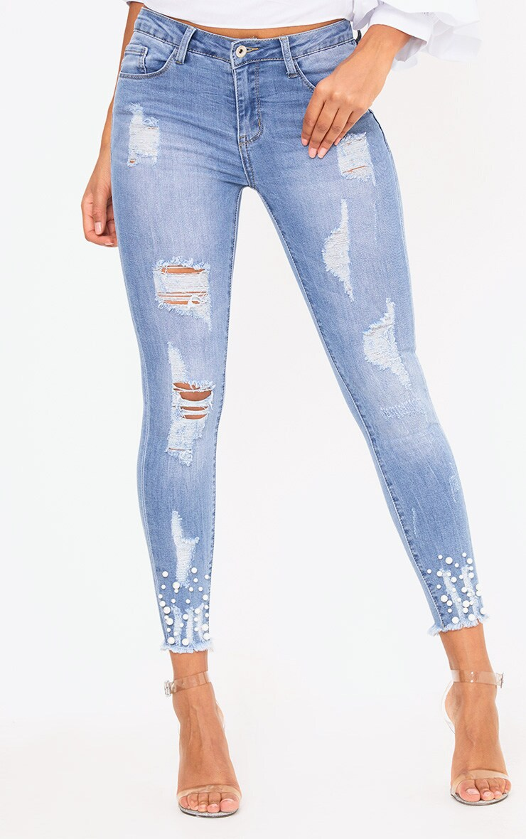 Mid Wash Pearl Embellished Distressed Skinny Jean 2